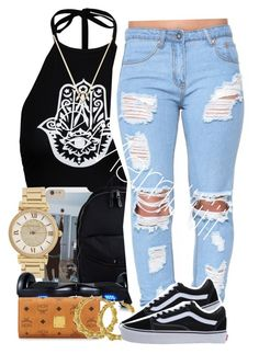 """""""School"""" by trill-forlife ❤ liked on Polyvore featuring Boohoo, Eastpak, Michael Kors, R2, MCM, Fergie, Wanderlust + Co and Vans"""