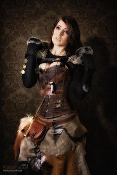 Steampunk - Can't really go wrong with leather and furs. Wait, what am I…