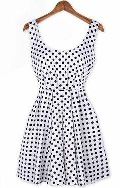 White Sleeveless Polka Dot Backless Bow Dress