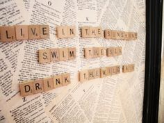 Magnetic Scrabble board: get a piece of metal (optional: frame it). Decoupage with old book pages/scrapbook paper. Add magnets to scrabble tiles. Play!