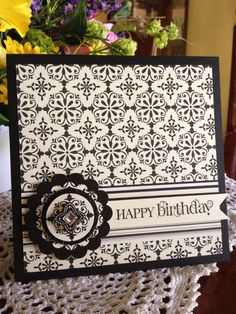 Gorgeous Handmade Black & White  Birthday Card...love the embellishment.  Picture only for inspiration.