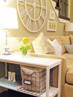 love the pillows in the basket. Great idea for next to the couch. My pillows always end up on the floor!