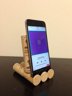 Wine Cork iPhone Stand by jdfdesigns on Etsy https://www.etsy.com/listing/100437951/wine-cork-iphone-stand