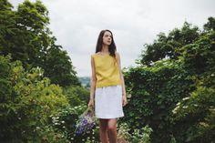 Minimal Linen Tunic Top Shirt Blouse 100% Linen by Linenfox