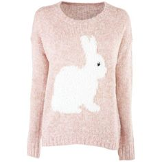 Pink Rabbit Jumper ($22) ❤ liked on Polyvore featuring tops, sweaters, shirts, long sleeves, shirt sweater, long sleeve jumper, pink jumper, sequin jumper and sequin sweater