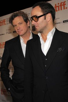 Tom Ford & Colin Firth - Celebrities Wearing Tom Ford: The Sexiest Suit Moments Ever Old Man Fashion, New York Fashion, Mens Fashion, Celebrity Pictures, Celebrity Style, Toms Sale, Toms Shoes Outlet, Colin Firth, Fashion Models