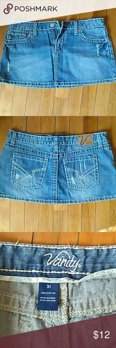 Vanity mini skirt Medium blue. Great condition. It's actually a 31 waist, but that wasn't an option Vanity Skirts Mini