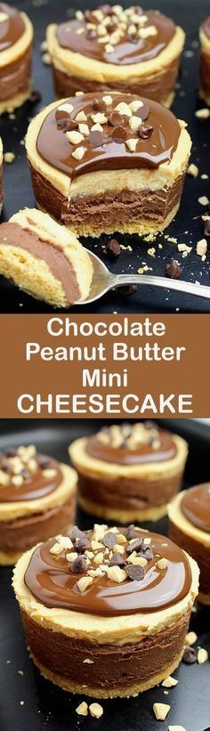 No Bake Chocolate Peanut Butter Mini Cheesecake. Chocolate and peanut butter. Do you like this combination? If your answer is yes, we have an awesome dessert for you – No Bake Chocolate Peanut Butter Mini Cheesecake ♥️ Mini Desserts, No Bake Desserts, Easy Desserts, Delicious Desserts, Dessert Recipes, Baking Desserts, Paleo Dessert, Awesome Desserts, Spanish Desserts