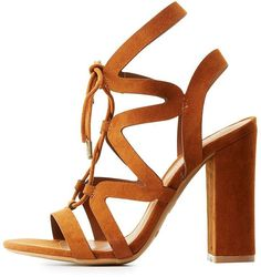 bd0a4b46ccf Bamboo Caged Lace-Up Block Heel Sandals Lace Up Sandal Heels