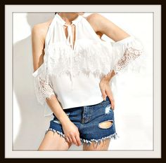 COWGIRL GYPSY TOP White Lace Cold Shoulder Tie V-Neckline Blouse #top #shirt #blouse #lace #coldshoulder #cutout #sexy #boho #style #fashion #boutique #deepv #cowgirl #bohemian #gypsy #western #cowgirlsuntamed