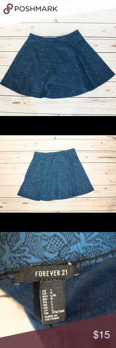 Forever 21 Blue Embroidered Skater Skirt This is a blue floral skater skirt from Forever 21. Excellent used condition. Size large. Perfect to wear over leggings. Forever 21 Skirts