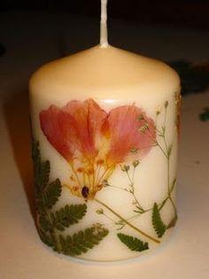 Velas decoradas con flores deshidratadas | Solountip.com