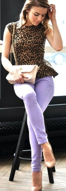 leopard peplum , lavender...
