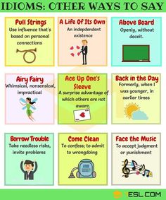 List of common idiomatic expressions and sayings in English with meaning, ESL pictures and examples. Learn these English idioms to help your English sound naturally like a native speaker. Grammar And Vocabulary, English Vocabulary Words, English Phrases, Learn English Words, English Writing, English Study, English Grammar, English Class, English Language Learning