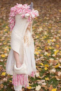 Velvet Acorn, Crochet Hooded Scarf, Hooded Cowl, Crochet For Kids, Crochet Baby, Knit Crochet, Poncho Mantel, Cozy Scarf, Little Unicorn