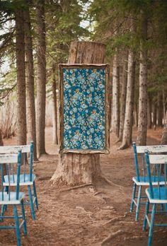 Fabric framed wedding ceremony backdrop