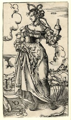A foolish virgin holding her skirt; WL figure, frontal view, head in profile to l; holding an upturned oil lamp in her l hand; landscape background; from a series of ten woodcuts. 1518 Woodcut