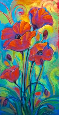 Draw Flowers Pastel drawings on paper by Susan Tolonen Lopez-Tan - Oil Pastel Art, Pastel Drawing, Painting & Drawing, Pastel Red, Fabric Painting, Art Floral, Chalk Pastels, Oil Pastels, Chalk Art