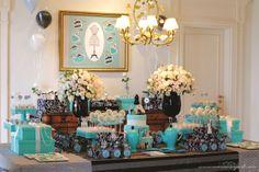Mariana Sperb: Chá de Panela Tiffany Breakfast At Tiffany's, Tiffany Party, Party Planning, Tea Party, Bridal Shower, Candy, Table Decorations, Flowers, Wedding