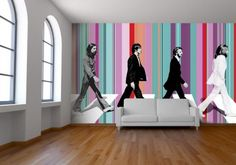 Beatles Celebrity Wall Decals for Living Room Decor Abbey Road, Music Wall, Striped Wallpaper, Wall Art Decor, Wall Murals, The Beatles, Beatles Art, Living Room Decor, Wallpaper Stores