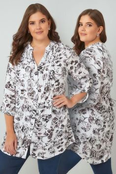 Plus Size Blouses & Shirts White & Grey Floral Pintuck Longline Blouse With Sequin Detail