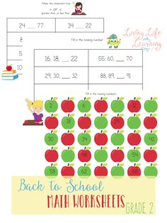 Grab these back to school math worksheets for 2nd grade to practice skip counting and comparing numbers, have fun with these math worksheets.  #grade2math #mathworksheets #homeschoolmath #LivingLifeandLearning
