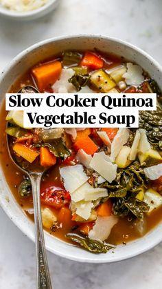 Slow Cooker Quinoa, Slow Cooker Recipes, Crockpot Recipes, Soup Recipes, Whole Food Recipes, Vegetarian Recipes, Dinner Recipes, Cooking Recipes, Healthy Recipes