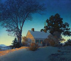 """Maxfield Parrish  1870 - 1966  signed Maxfield Parrish and dated 1954 (lower left); also signed Maxfield Parrish Windsor: Vermont, titled """"Norwich—Vermont"""" and dated 1954 on an original label affixed to the reverse oil on masonite 13 1/2 by 15 3/8 inches"""