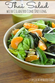Thai Salad with Cilantro Lime Dressing | stupideasypaleo.com