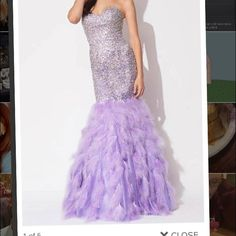 Lavendar jovani mermaid prom dress! Good condition worn once no feathers missing! Size 4 Jovani Dresses Prom