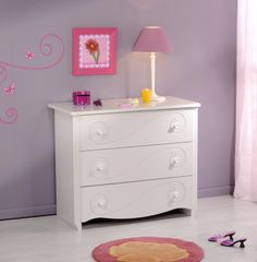 Comoda 3 sertare Alice   #Mobila Living Furniture, Kids Furniture, Furniture Sets, White Drawers, Bed With Drawers, Mid Sleeper Bed, Transforming Furniture, Reupholster Furniture, 3 Drawer Chest