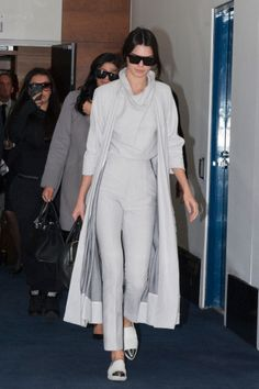 Kendall Jenner's 2015 Shoe Style: Kendall Jenner paired her all-gray look with Miu Miu cap-toe sneakers.