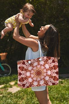 """Rustic Rose Quartz Mandala Weekender Tote Bag #totebag #accessories #Reiki #abstract #geometric #kaleidoscopes #mandalas #love #valentine #crystals #rosequartz #heartchakra Our weekender tote bags are chic and perfect for a day out on the town, a staycation, or a weekend getaway. The tote is crafted with soft, spun poly-poplin fabric and features double-stitched seams for added durability. The 1"""" thick cotton handles are perfect for carrying the bag by hand or over your shoulder."""