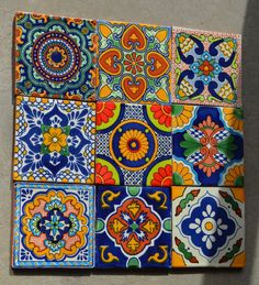 9 Mexican Talavera Tiles. Hand made-Hand painted by MexicanTiles