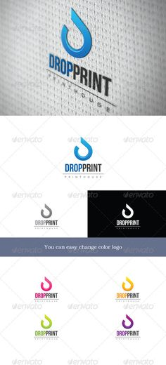 Dropprint  #GraphicRiver        Dropprint 	 Logo symbolizes the letter D. This stylized drop. Logo is well suited to companies associated with printing or sale of any liquid, be it water, energy drinks or ecological fuel.  You can easy change color for logo.