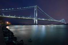 The Verrazano-Narrows Bridge, connects the boroughs of Staten Island and Brooklyn in New York City, United States.
