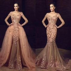 A-line Floral Lace Long Prom Dress Hand Made Beautiful Formal Gowns Evening Dress Plus Size Formal Dresses, Prom Dresses Long With Sleeves, Different Dresses, Formal Gowns, Elegant Dresses, Dress Long, Formal Wear, Brown Evening Dresses, Beaded Evening Gowns