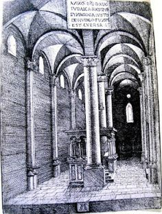 Albrecht Altdorfer, Interior of Regensburg Synagogue, etching, 1519 Feldkirch, Religious Architecture, Pisa, Tower, Abstract, Building, Artwork, Interior, Dan