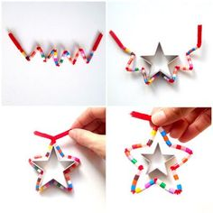 DIY Star Christmas ornaments (pipe cleaner and hama beads) by schaeresteipapier Christmas Activities, Christmas Crafts For Kids, Simple Christmas, Winter Christmas, Kids Christmas, Holiday Crafts, Christmas Gifts, Christmas Decorations, Navidad Simple