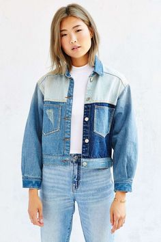 UNIF Denim Colorblocked Jacket - Urban Outfitters: