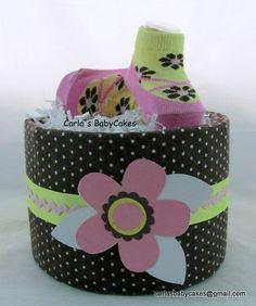 Girl diaper cake Mini diaper cake Baby by MsCarlasBabyCakes