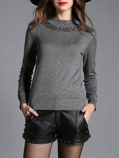 #AdoreWe #StyleWe MESAPPAS Gray Long Sleeve H-line Plain Beaded Long Sleeved Top - AdoreWe.com