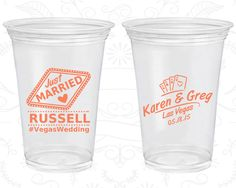 Las Vegas Wedding, Clear Cups, Playing Cards, Wedding Hashtag, Just Married Wedding, Clear Plastic Cups (590)
