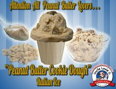Rich, creamy and smooth peanut butter cookie dough italian ice cream