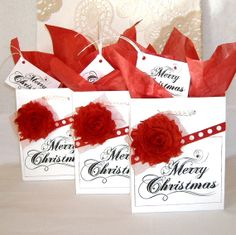 MERRY CHRISTMAS Set of Three Christmas White Paper by peppercorns2, $7.75
