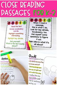 Fall themed close reading passages to teach your primary students how to annotate a text. Your students will love this color-coded method using DOTS! #closereadingpassages #detailsontheside #fallreading