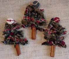 Cinnamon Stick Tree Prim Homespun Woodland Christmas Tree Ornament Brooch Pin itsyourcountry on Etsy, $6.99
