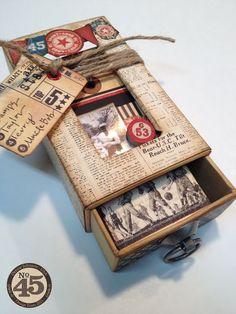 altered Small Matchbook Box using Good ol' Sport Graphic 45 paper ♡ ~ Ʀεƥɪииεð╭ Altered Cigar Boxes, Altered Tins, Altered Bottles, Altered Art, Graphic 45, Matchbox Crafts, Matchbox Art, Shadow Box, Prayer Box