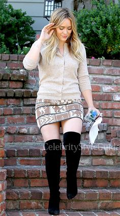 Seen on Celebrity Style Guide: Hilary Duff wore the Suno Animal Jacquard Skirt out Beverly Hills October 10 2013