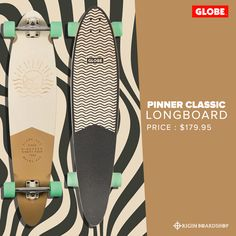 "The Pinner Classic in Off-White/Mustard is a GLOBE Classic pintail longboard with a kicktail. It is available in 40"" x 9"" x 26.75""WB and is made of Resin-8 hard rock maple. It has a mellow concave with kick tail and 180mm Slant aluminum reverse kingpin trucks with 65mm 78a wheels.   Get this cool longboard now at Originboardshop.com  #globebrand #globeskateboarding #globeskateboards #globelongboard #skater #longboarding #skatetricks #skatelife #skateshop #thrasher #skateboard #skateboards… Skateboard Trucks And Wheels, Skateboard Decks, Deck Railing Height, Globe Longboard, Pintail Longboard, Deck Gate, Metal Patio Furniture, Deck Pictures"